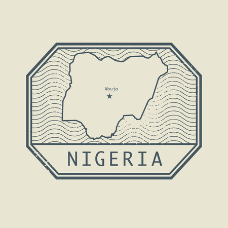 nigeria: Stamp with the name and map of Nigeria, vector illustration Illustration