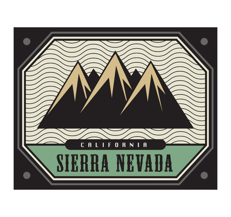 natural ice pastime: Stamp with the text Sierra Nevada, California, vector illustration