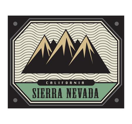 sierra nevada: Stamp with the text Sierra Nevada, California, vector illustration