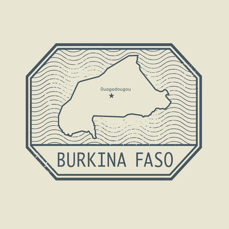 identifier: Stamp with the name and map of Burkina Faso, vector illustration