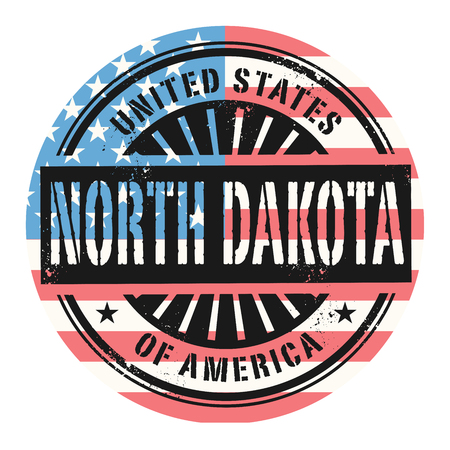 old postcards: Grunge rubber stamp with the text United States of America, North Dakota, vector illustration
