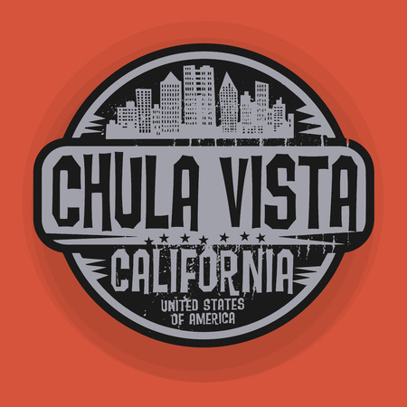 vista: Stamp or label with name of Chula Vista, California, vector illustration Illustration