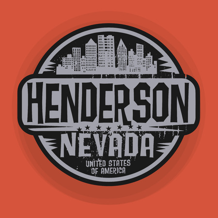nevada: Stamp or label with name of Henderson, Nevada, vector illustration Illustration