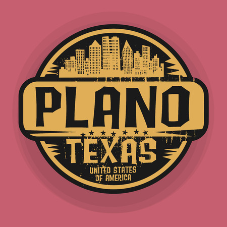 plano: Stamp or label with name of Plano, Texas, vector illustration