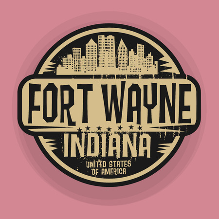 fort: Stamp or label with name of Fort Wayne, Indiana, vector illustration