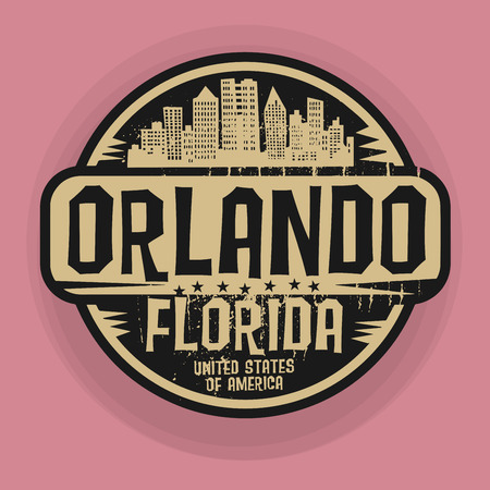 Stamp or label with name of Orlando, Florida, vector illustration