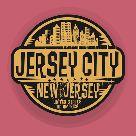 jersey city: Stamp or label with name of Jersey City, New Jersey, vector illustration
