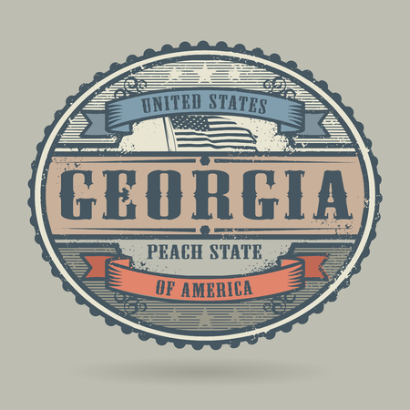 american cities: Vintage stamp with the text United States of America, Georgia, vector illustration