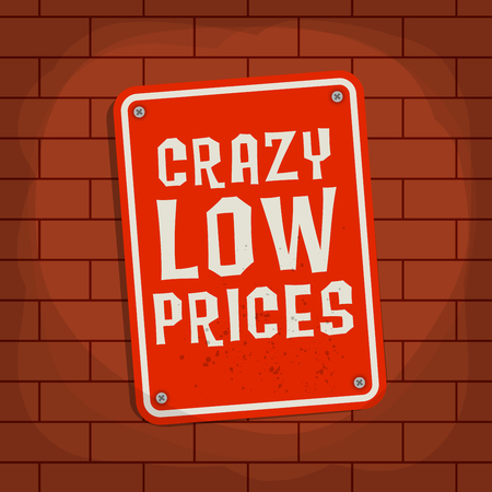 low price: Sign with text Crazy Low Price, vector illustration Stock Illustratie