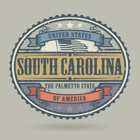 stamps: Vintage stamp or label with the text United States of America, South Carolina, vector illustration Illustration