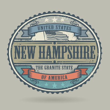 identifier: Vintage stamp or label with the text United States of America, New Hampshire, vector illustration