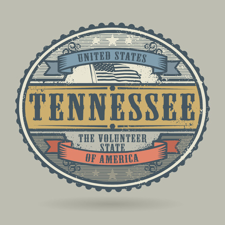 identifier: Vintage stamp or label with the text United States of America, Tennessee, vector illustration