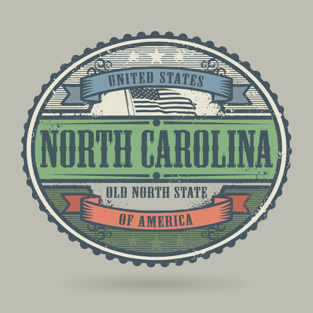 carolina: Vintage stamp or label with the text United States of America, North Carolina, vector illustration