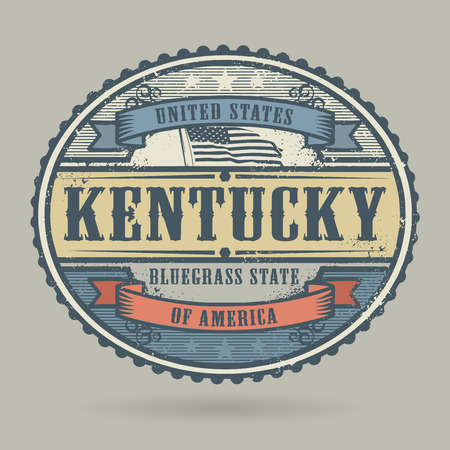 american cities: Vintage stamp or label with the text United States of America, Kentucky, vector illustration