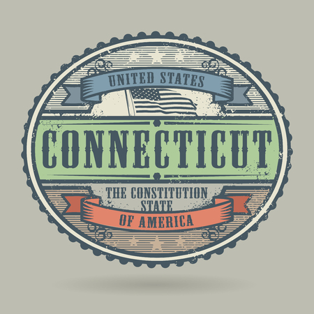 american cities: Vintage stamp or label with the text United States of America, Connecticut, vector illustration