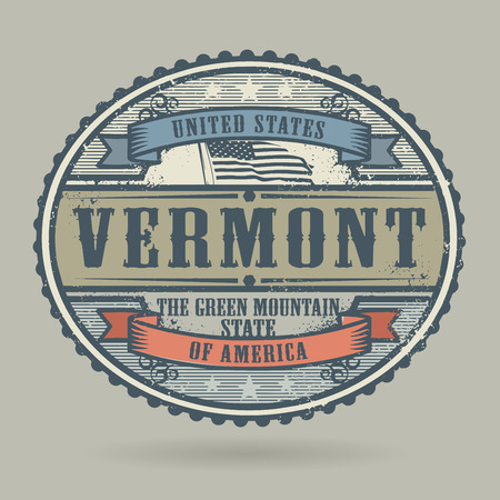 american cities: Vintage stamp or label with the text United States of America, Vermont, vector illustration Illustration