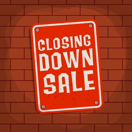 closing: Sign with text Closing Down Sale, vector illustration