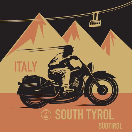 bicicleta retro: Cartel aventura de motos de época, ilustración vectorial