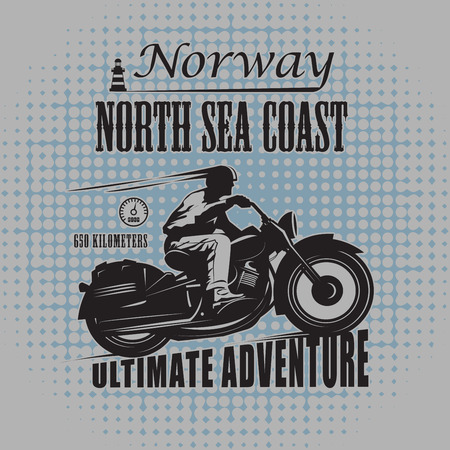 motorway: Vintage Motorcycle label, vector illustration