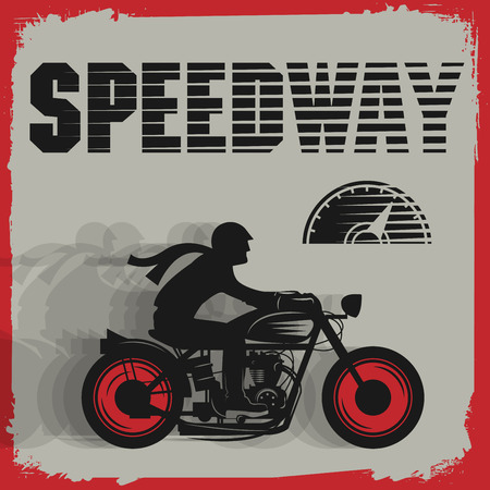 old style: Vintage Motorcycle sport poster, vector illustration
