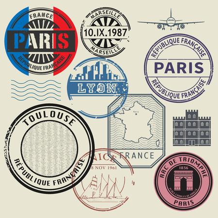 Travel stamps set, France theme, vector illustration Vettoriali