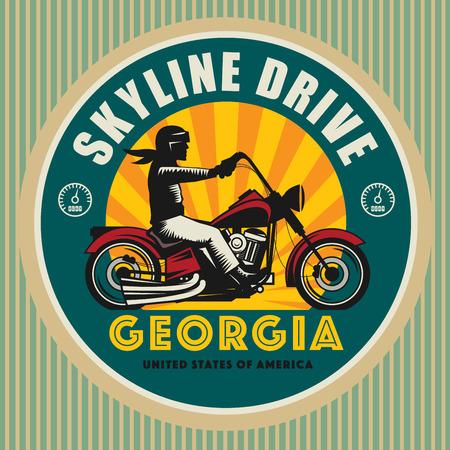 silueta ciclista: Etiqueta del deporte de la motocicleta de la vendimia, ilustración vectorial