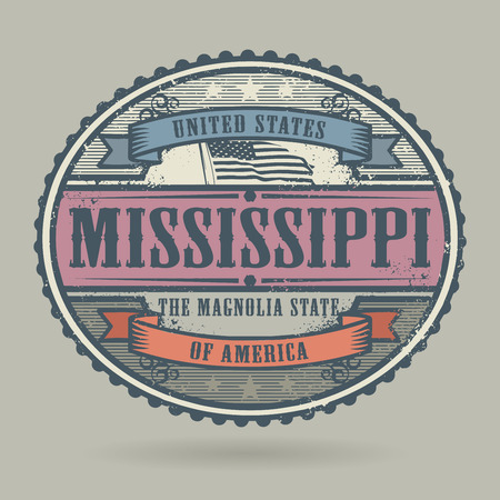 old postcards: Vintage stamp or label with the text United States of America, Mississippi, vector illustration