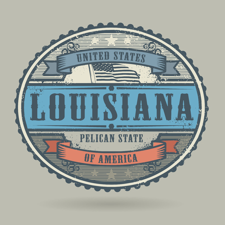 louisiana flag: Vintage stamp or label with the text United States of America, Louisiana, vector illustration
