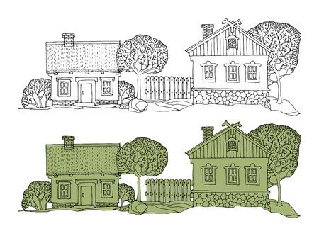 Cartoon hand drawing houses Illustration