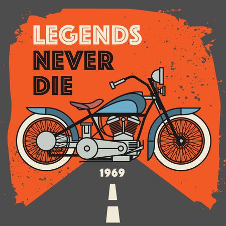 motorsports: Vintage Motorcycle sport label with the text Legends Never Die inside, vector illustration Illustration