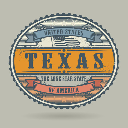 America: Vintage stamp or label with the text United States of America, Texas, vector illustration
