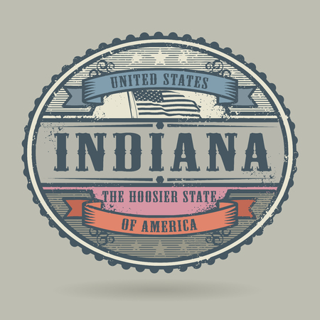imprinted: Vintage stamp or label with the text United States of America, Indiana, vector illustration