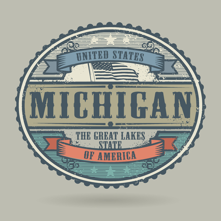 identifier: Vintage stamp or label with the text United States of America, Michigan, vector illustration Illustration