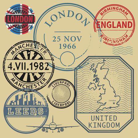 stamp collection: Travel stamps set, vector illustration