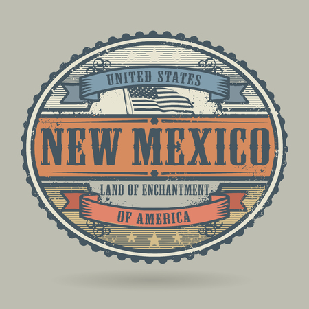 american cities: Vintage stamp or label with the text United States of America, New Mexico, vector illustration