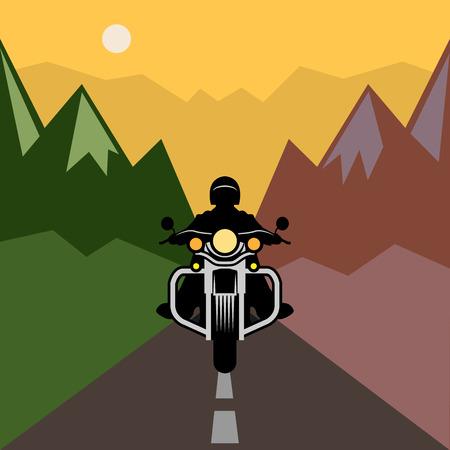 ciclista silueta: La aventura de la motocicleta, ilustración vectorial Vectores