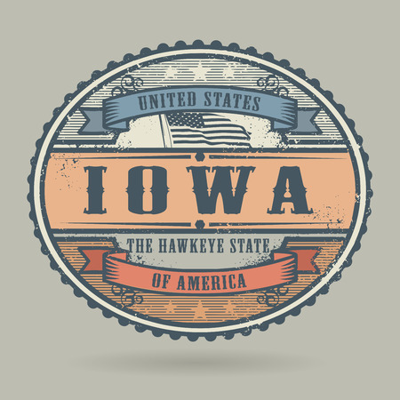 imprinted: Vintage stamp or label with the text United States of America, Iowa, vector illustration