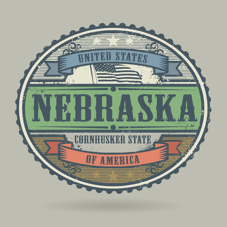american cities: Vintage stamp or label with the text United States of America, Nebraska, vector illustration