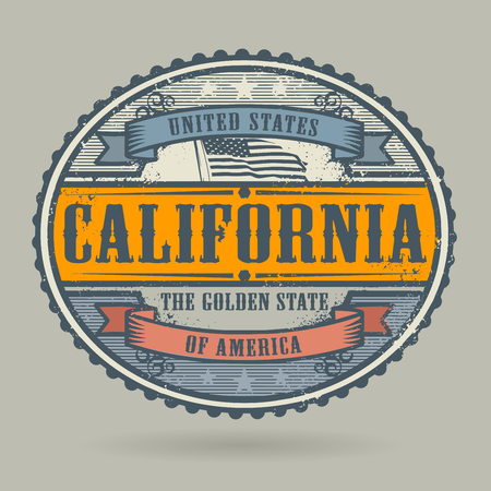 american cities: Vintage stamp or label with the text United States of America, California, vector illustration