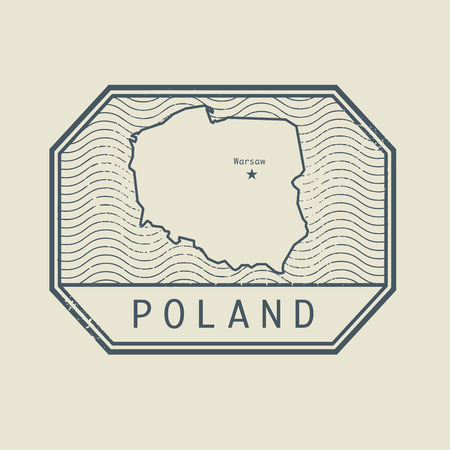 imprinted: Stamp with the name and map of Poland, vector illustration