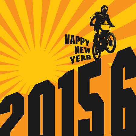 motocross race: New year motocross race, vector illustration