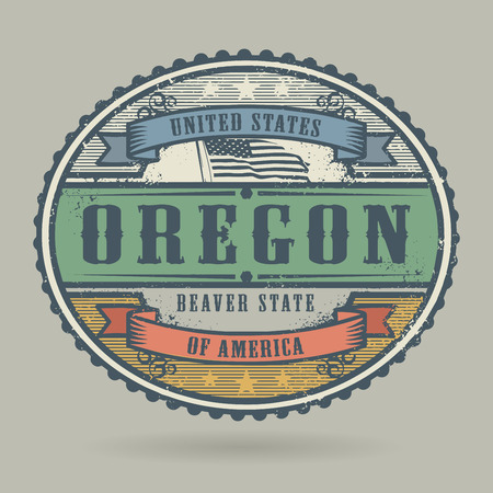 imprinted: Vintage stamp or label with the text United States of America, Oregon, vector illustration Illustration