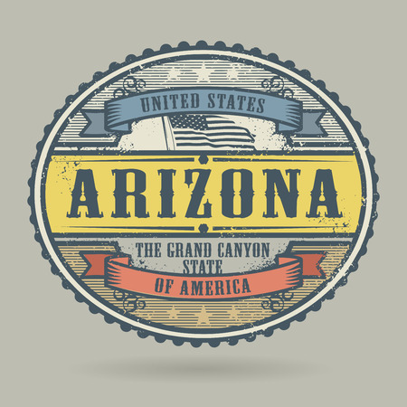 american cities: Vintage stamp or label with the text United States of America, Arizona, vector illustration