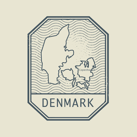 identifier: Stamp with the name and map of Denmark, vector illustration
