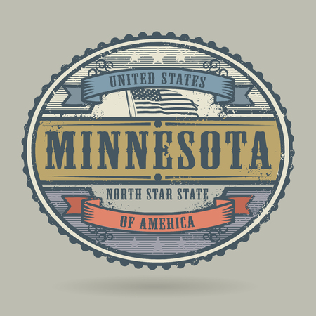identifier: Vintage stamp or label with the text United States of America, Minnesota, vector illustration