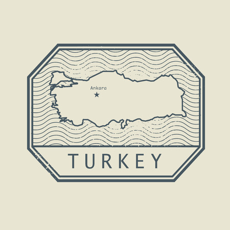 imprinted: Stamp with the name and map of Turkey, vector illustration