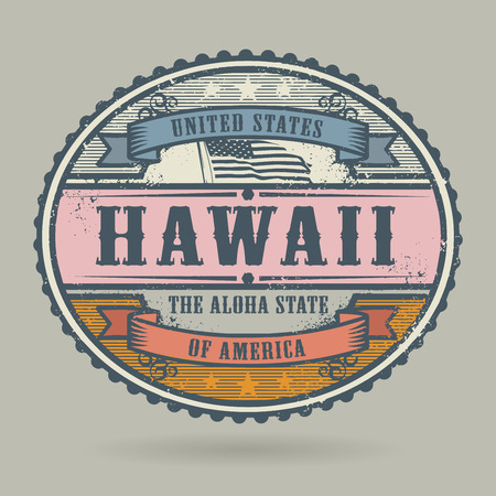 hawaii flag: Vintage stamp or label with the text United States of America, Hawaii, vector illustration