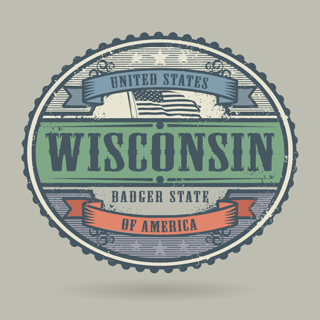 wisconsin flag: Vintage stamp or label with the text United States of America, Wisconsin, vector illustration Illustration