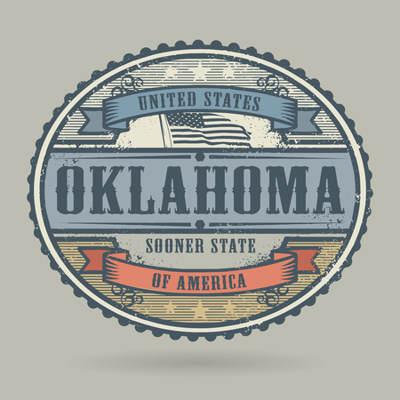 oklahoma: Vintage stamp or label with the text United States of America, Oklahoma, vector illustration
