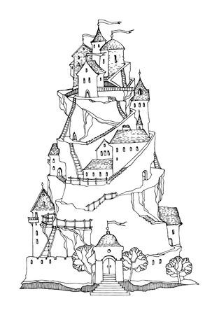 castello medievale: Castello di fumetto, illustrazione vettoriale Vettoriali